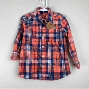 Coral red and blue custom bleach dyed button up